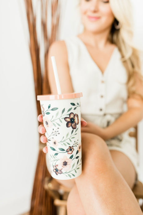Tumbler with Straw, Woodland Floral
