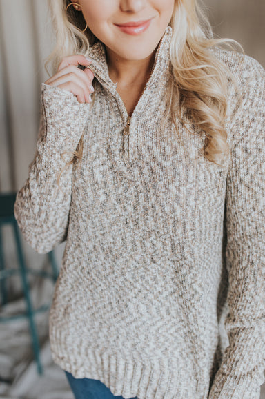 Take It Easy Zip Sweater - Oatmeal Combo