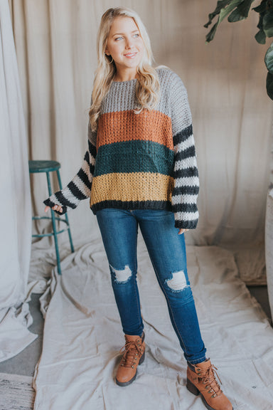 Striped Knit Sweater - Rust Multi