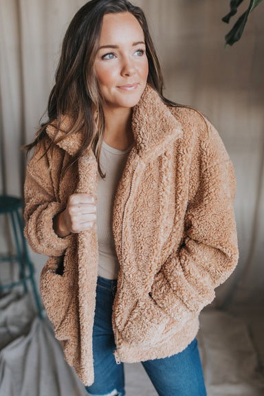 Oversized Teddy Bomber Jacket- Tan