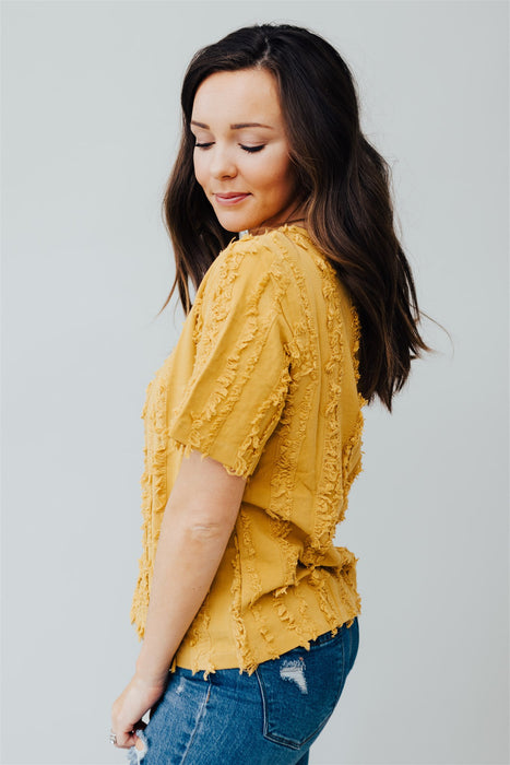 All The Frills Top - Mustard