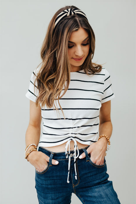 Back At Ya Stripe Knit Top - Ivory Black