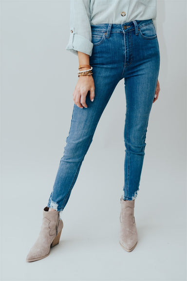 High Rise Skinny Jean w Destroyed Hem - Medium Denim