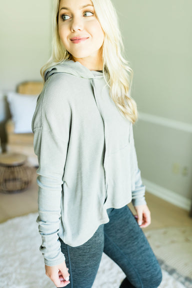 Thermal Hoodie Sweatshirt - Light Grey