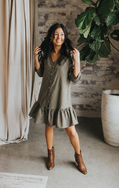 Ruffled Up Dress - Olive