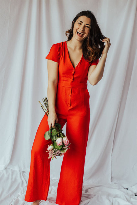 No Excuses Jumpsuit - Red