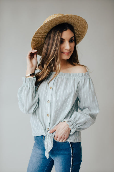 Wildest Dreams Blouse - Mint Stripe