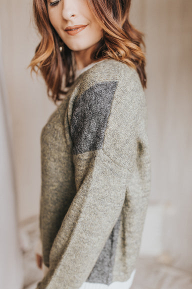 That's Your Call Sweater - Olive/Grey