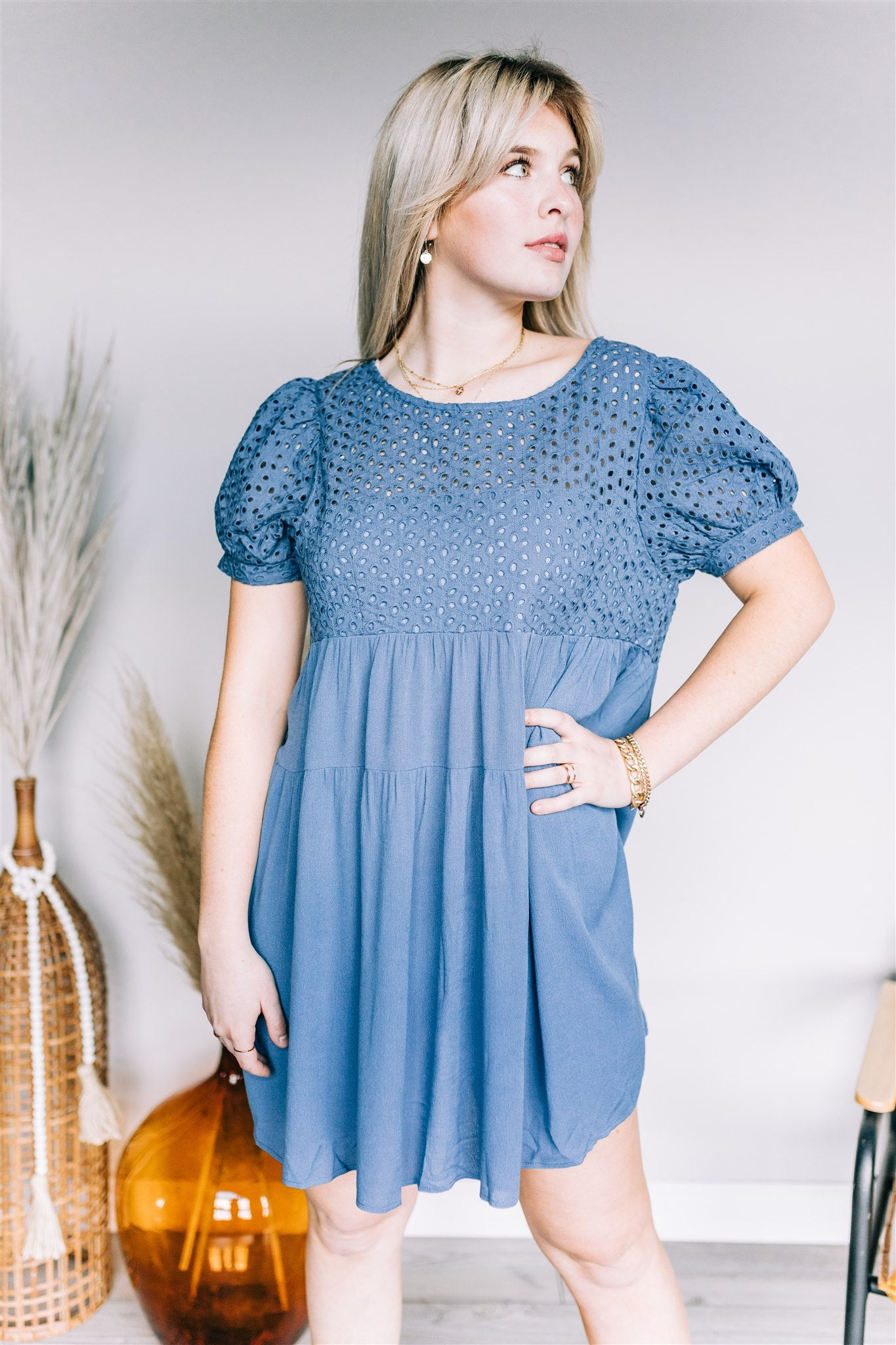 Evelyn Babydoll Dress - Denim