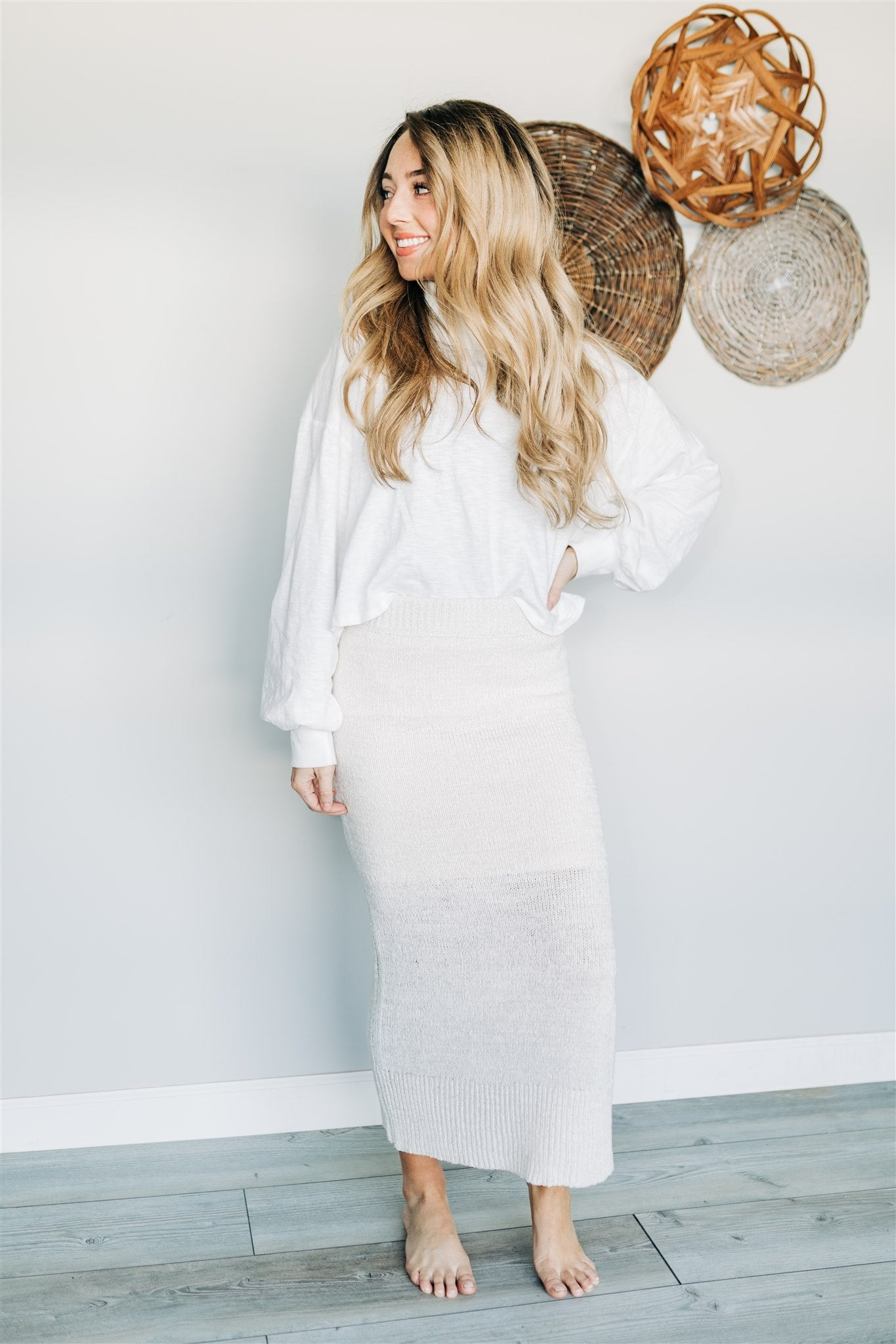 Get Over Knit Skirt - Cream