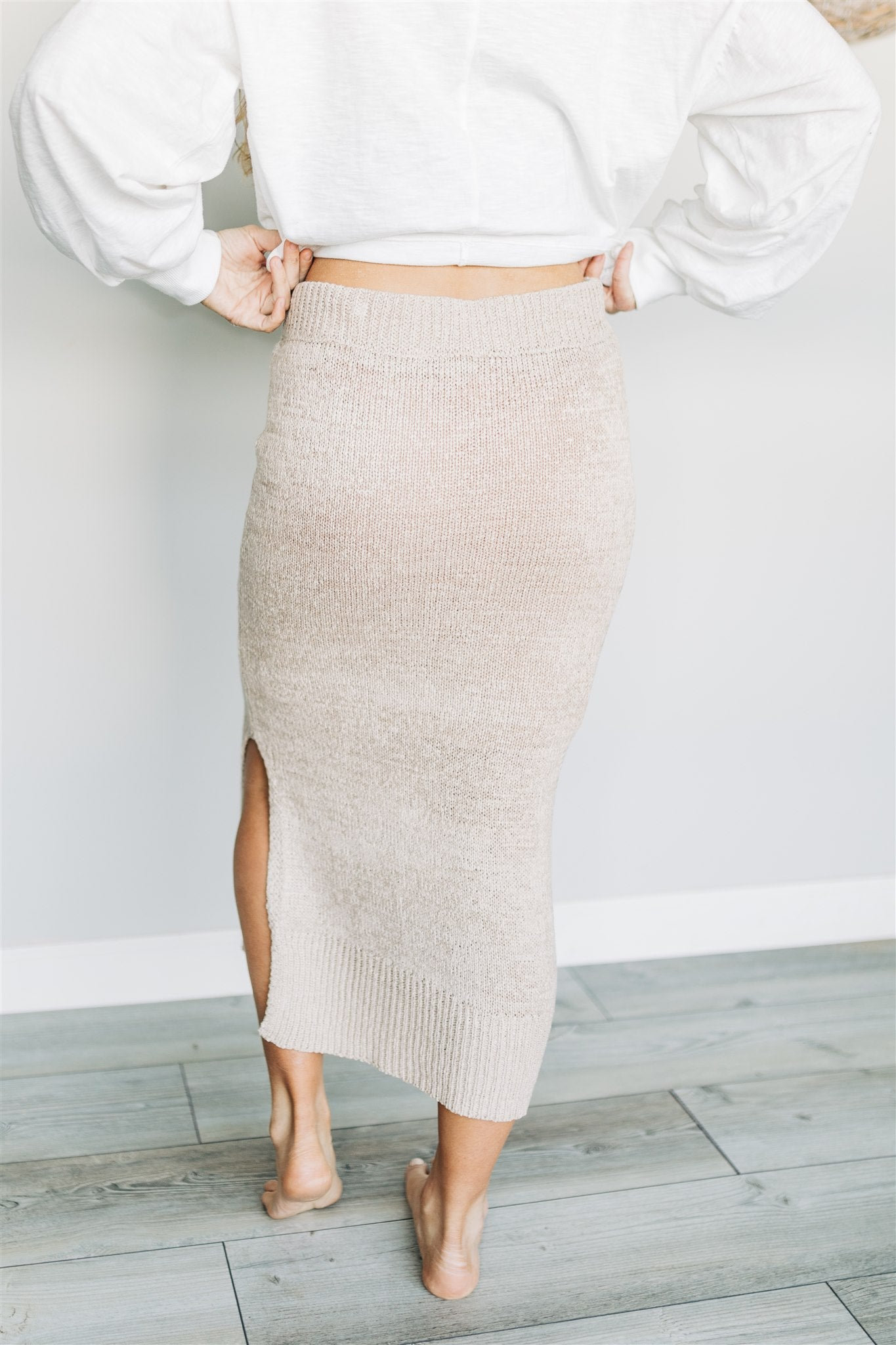 Get Over Knit Skirt - Taupe