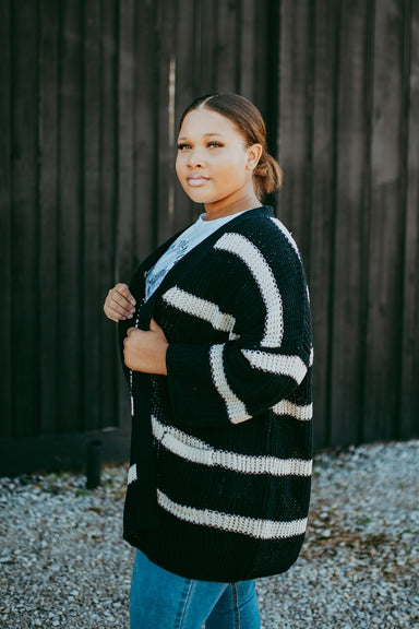 Between the Lines Cardigan - Black/Cream