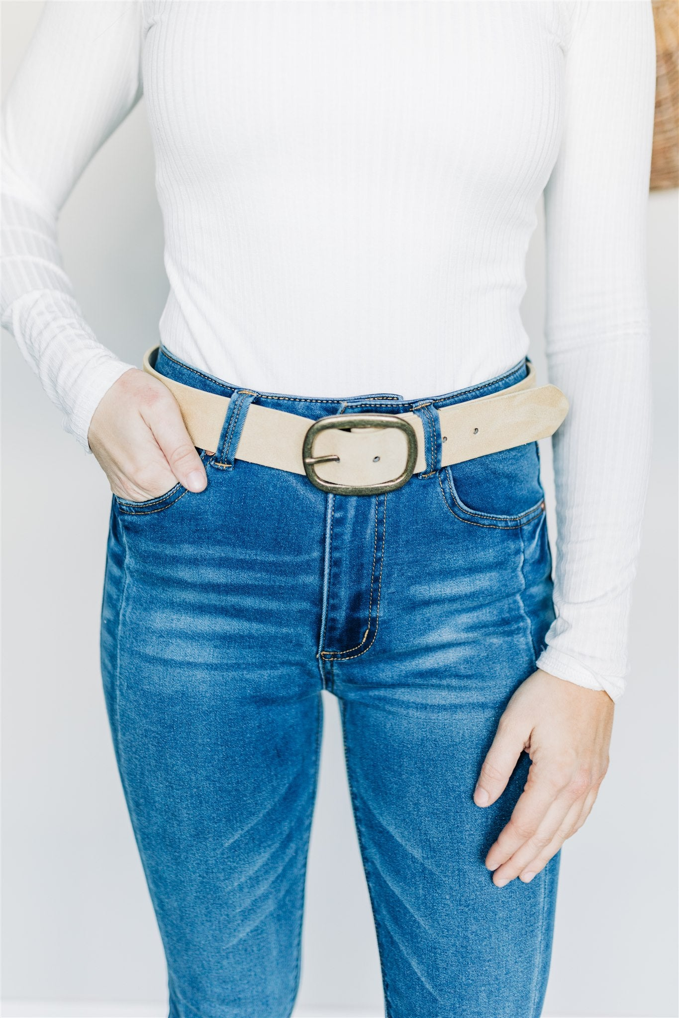 Buckle Up Belt - Beige