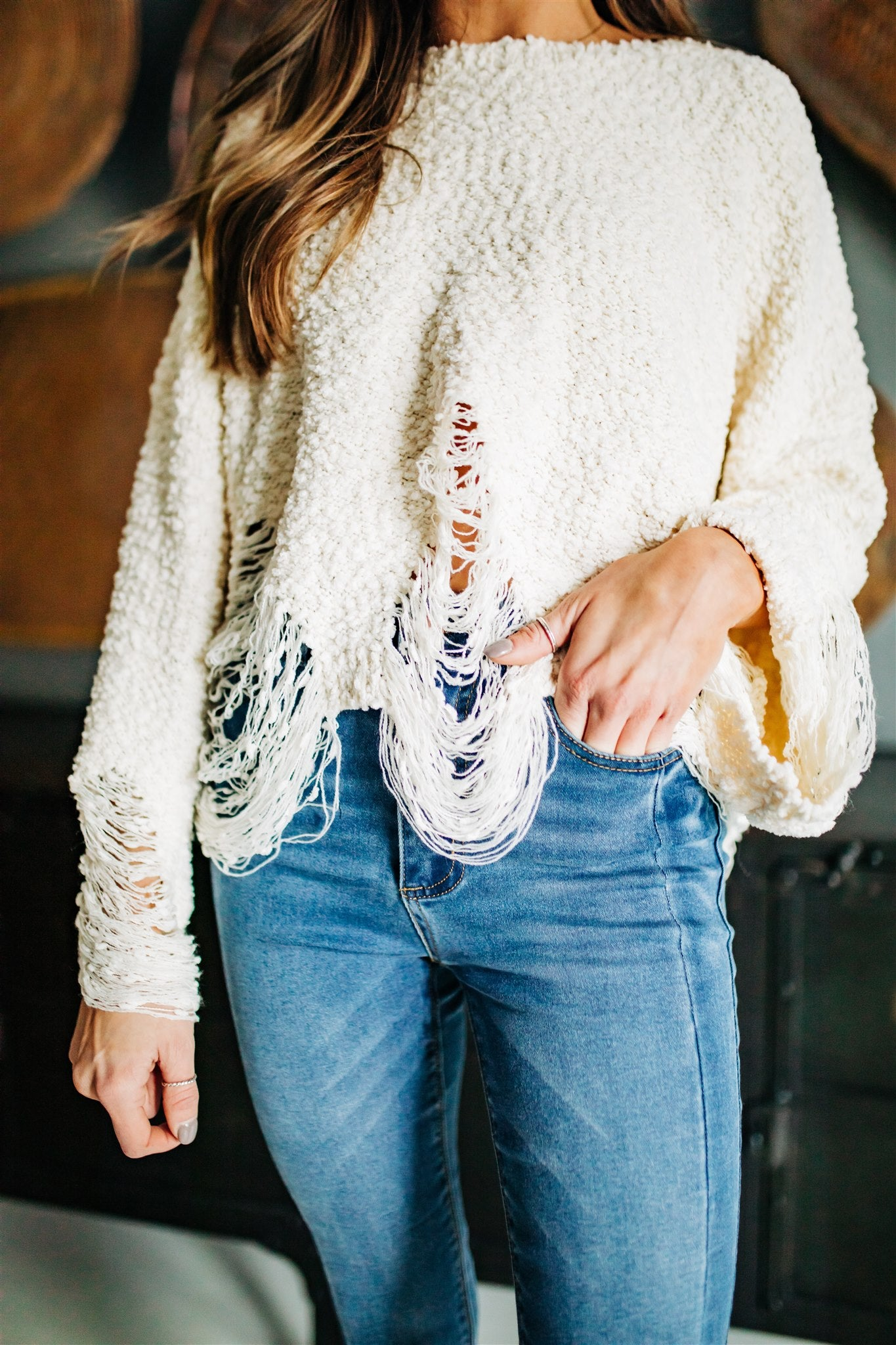 Too Soon Distressed Sweater - Ivory