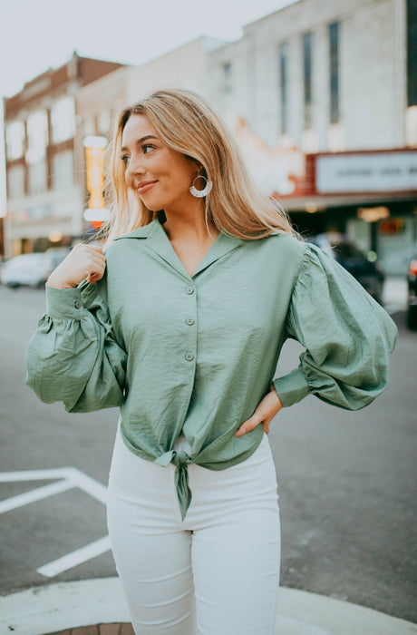 Queen of Style Blouse - Light Olive
