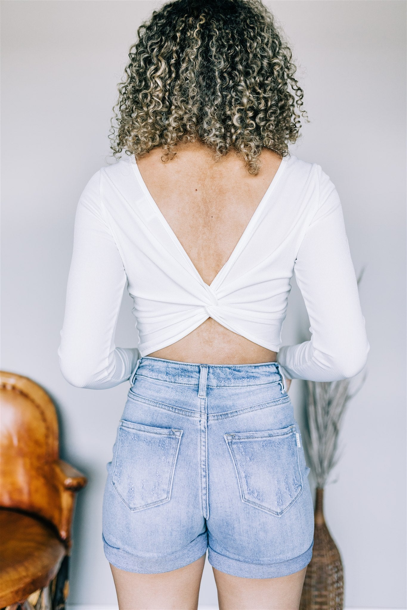 Twist Back Crop Top - Off White