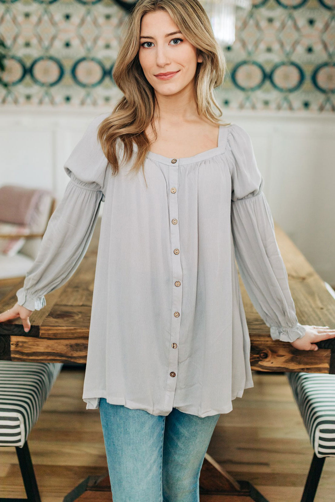 Layla Cinched Button Top