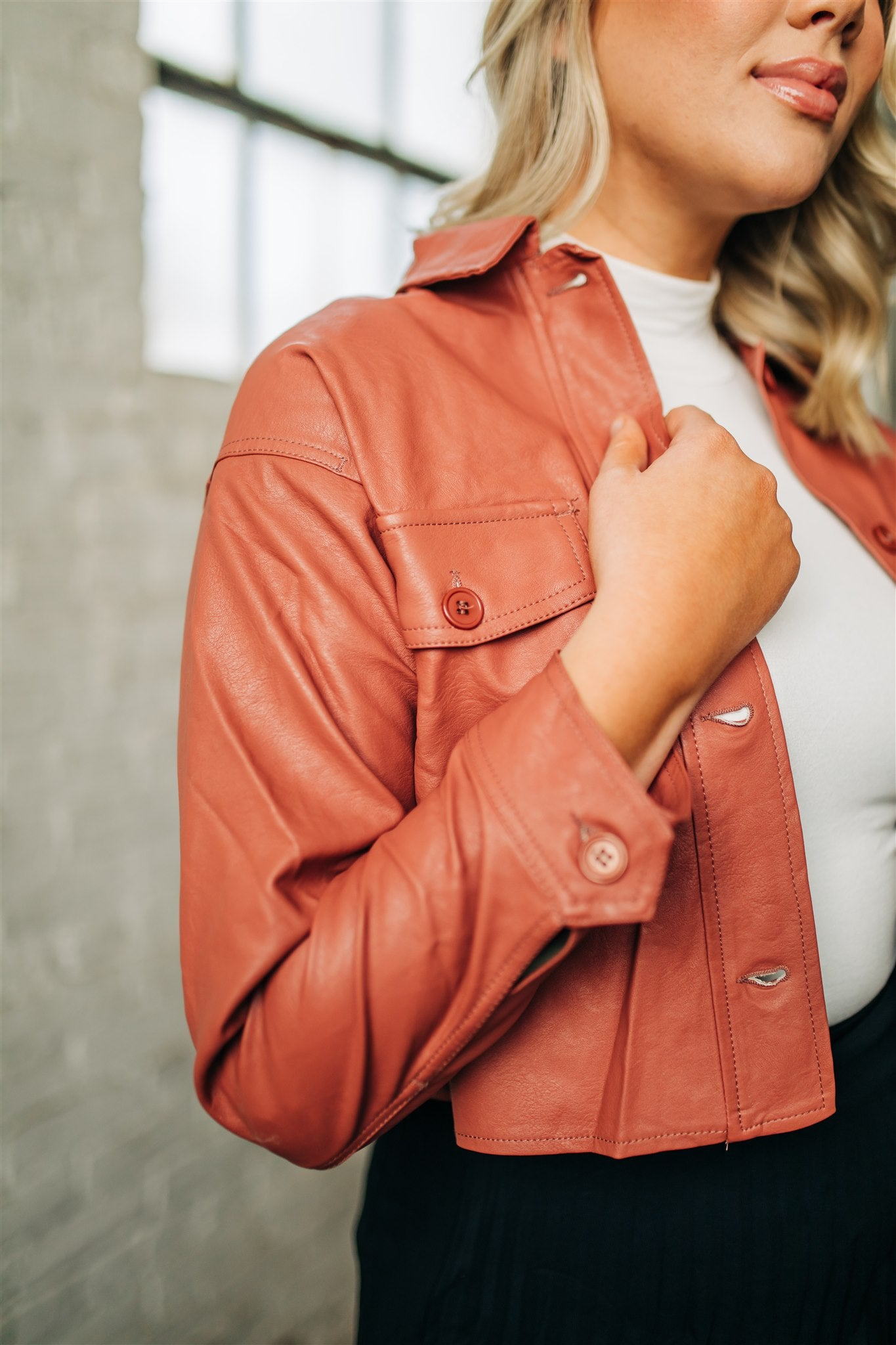 Peachy Keen Faux Leather Jacket
