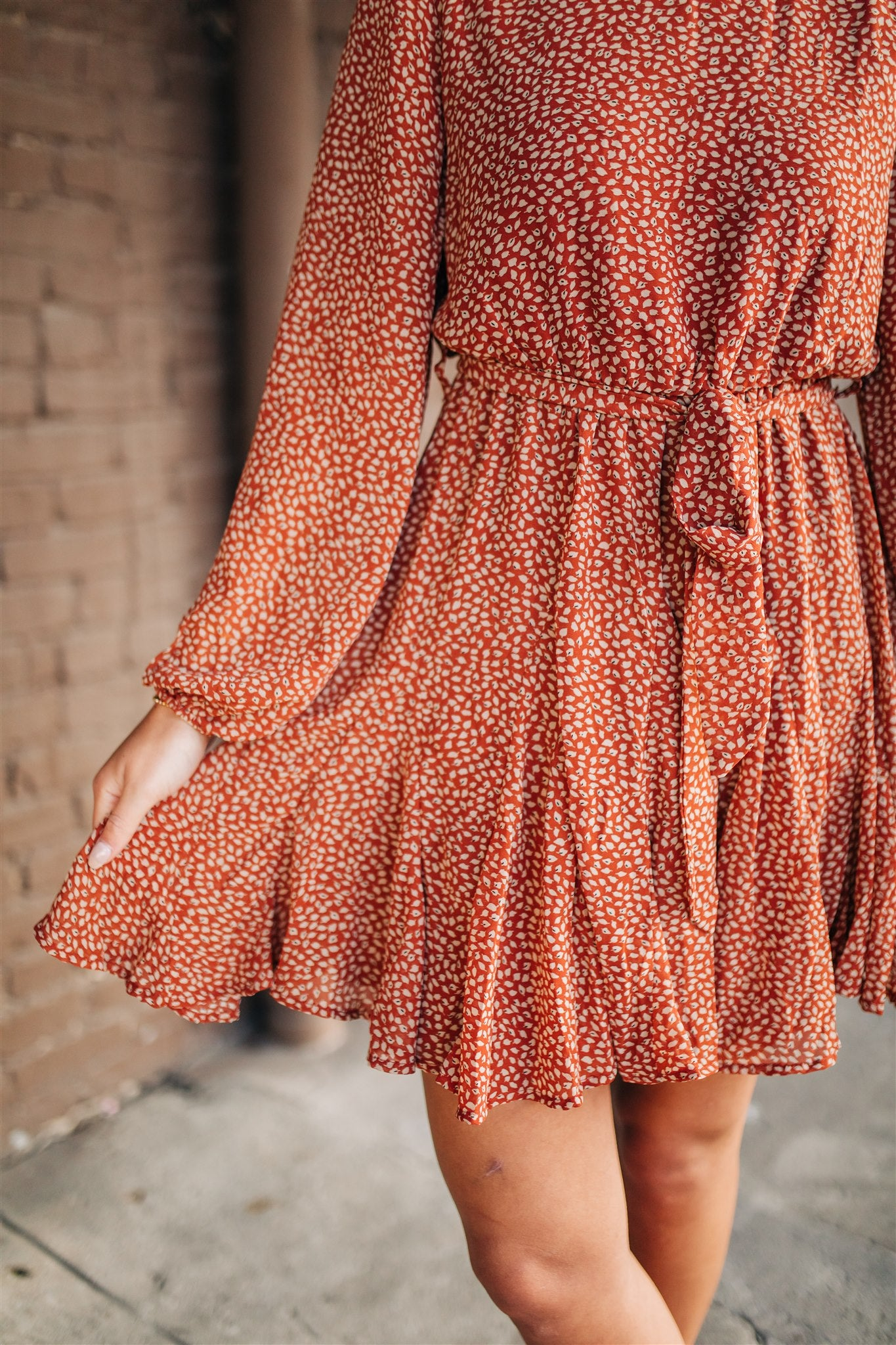 Alivia Flare Dress - Rust