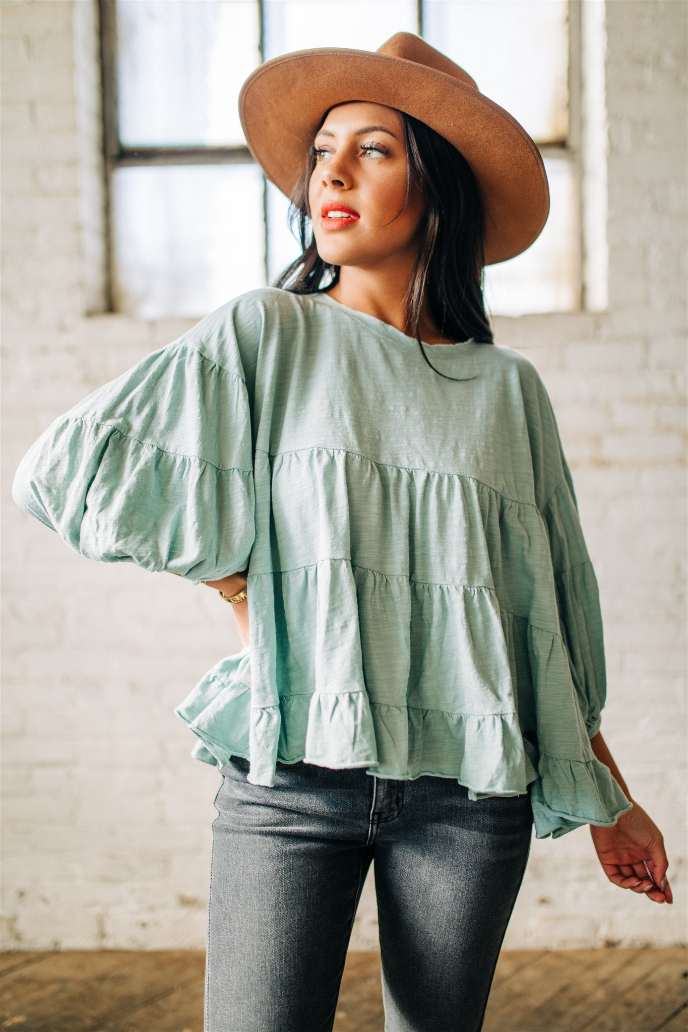 Melrose Tiered Top - Sage