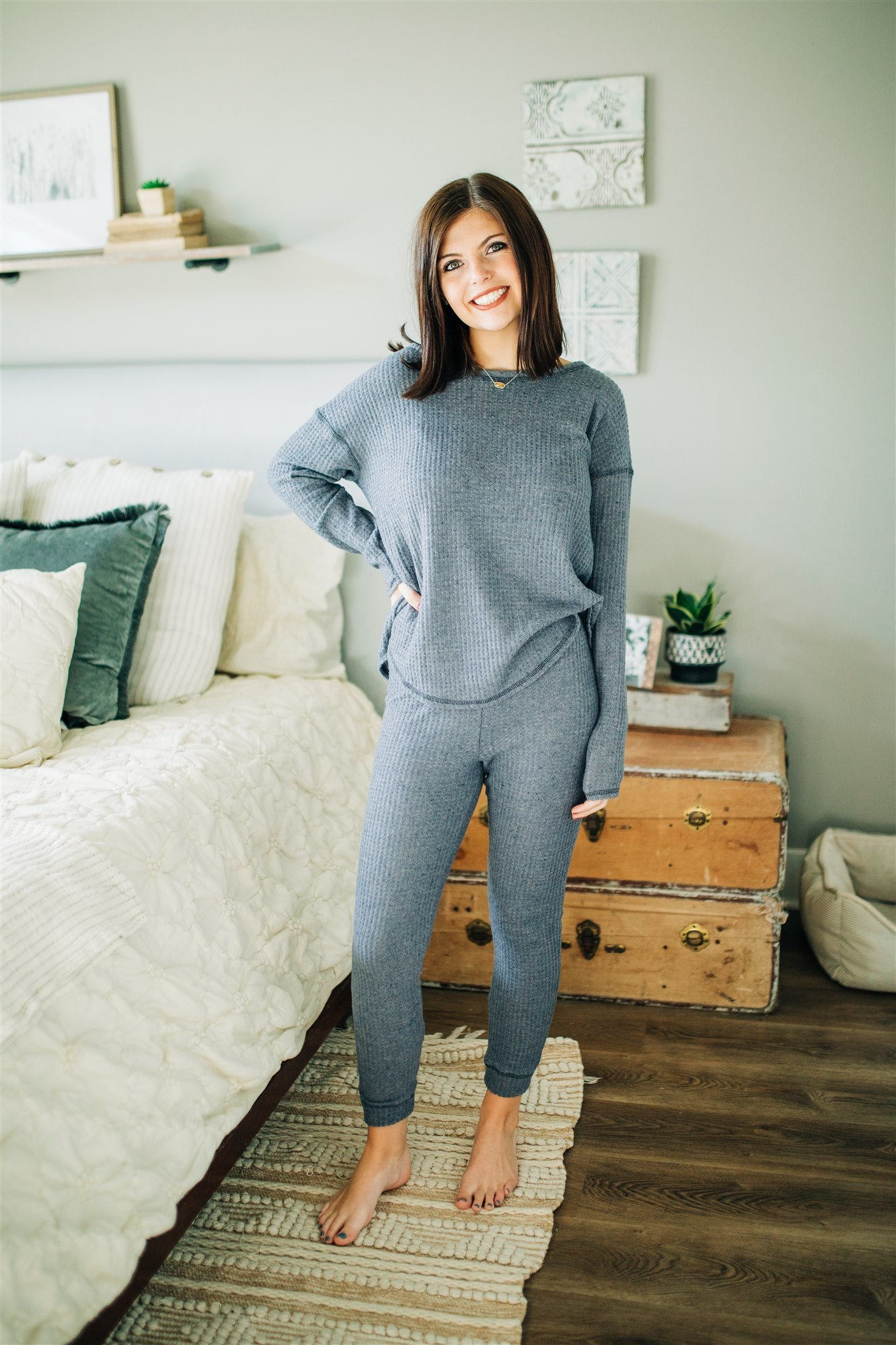 Knit's a Match Set - Dusty Blue