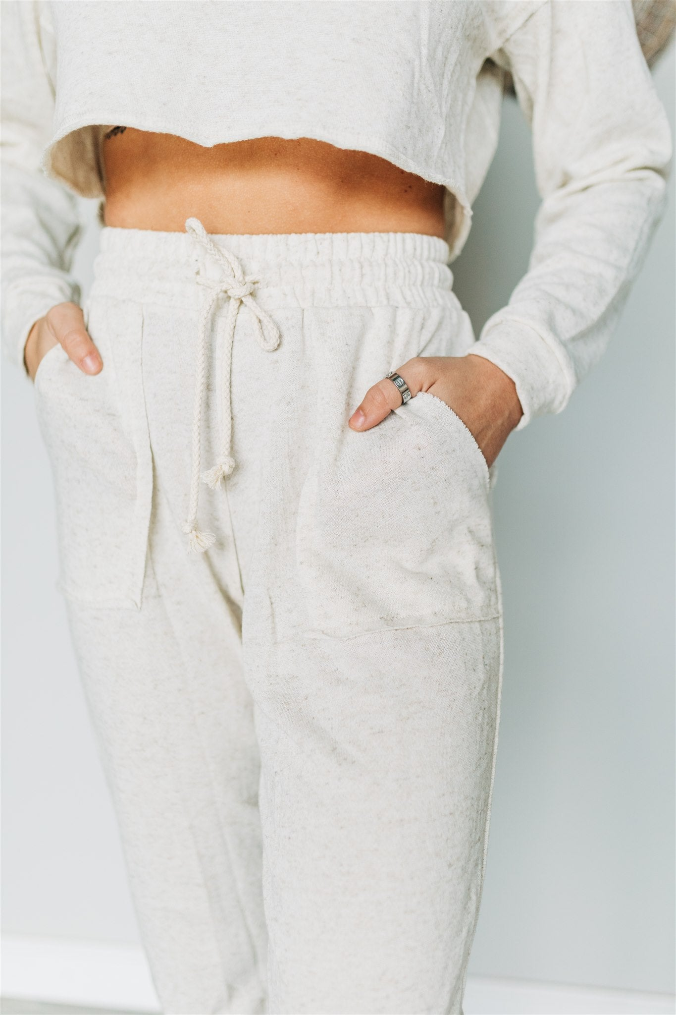Cropped Chillin' Lounge Set - Natural
