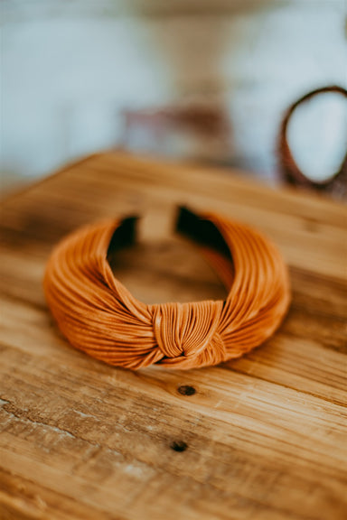 Pleated Headband - Rust