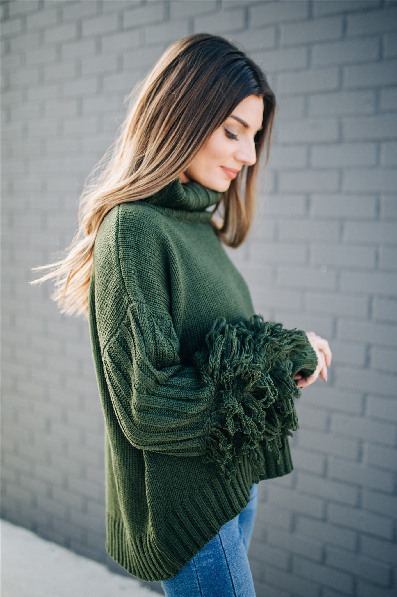 Me & My Fringe Sweater - Olive
