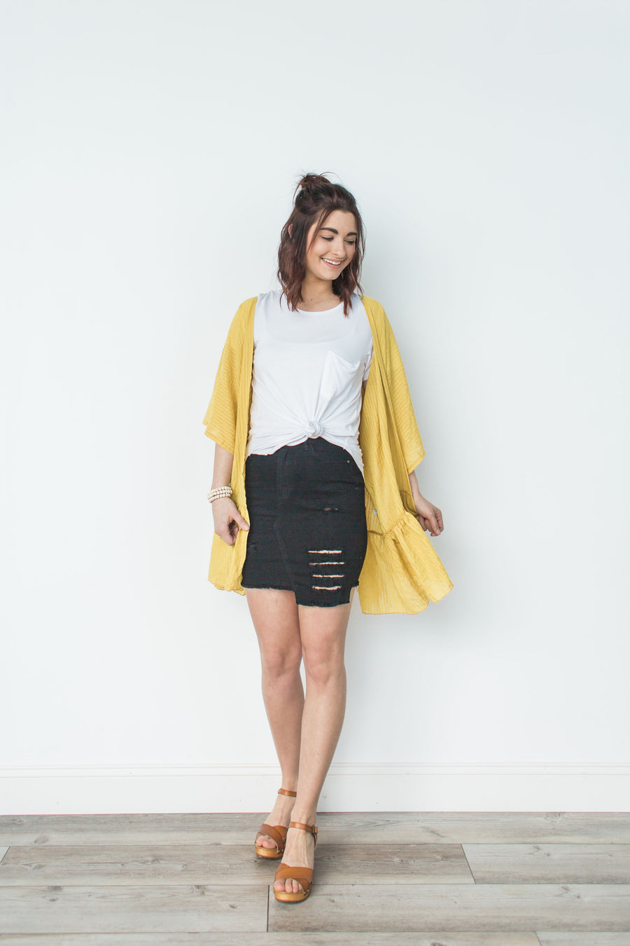 Distressed Step Hem Skirt - Black