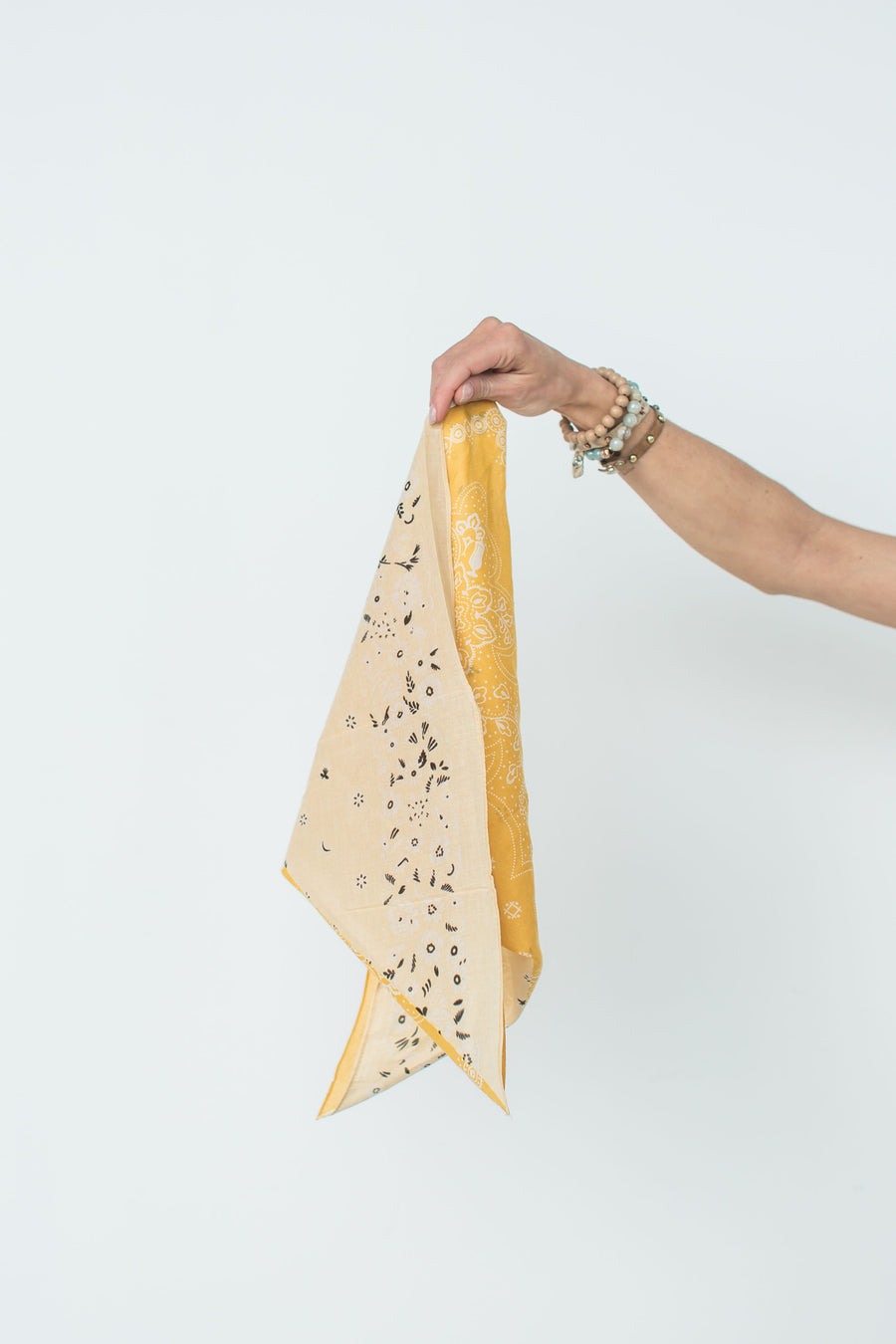 Two-Tone Floral Handkerchief - Mustard & Yellow