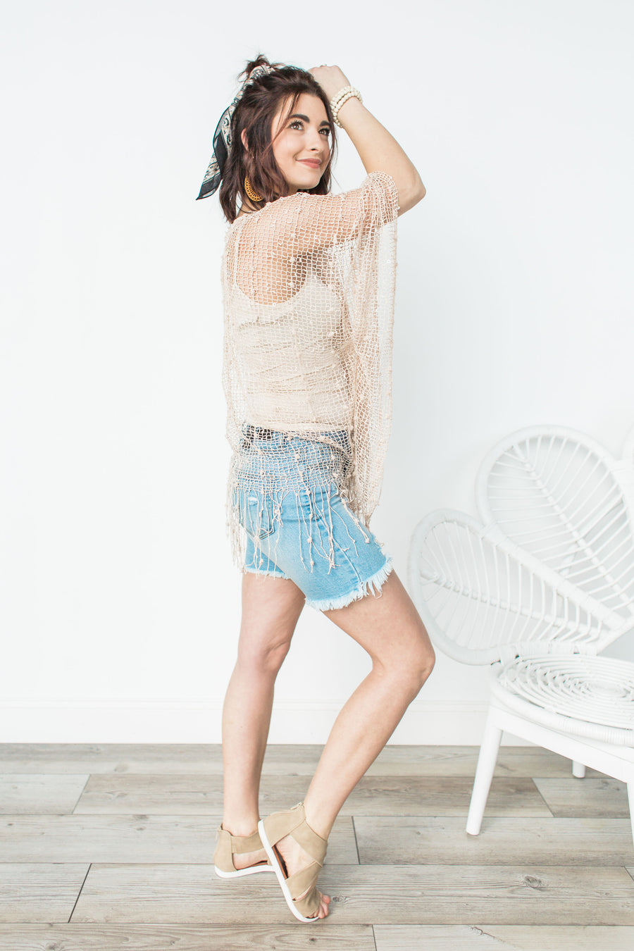 Button Down Distressed Bermuda Shorts - Light