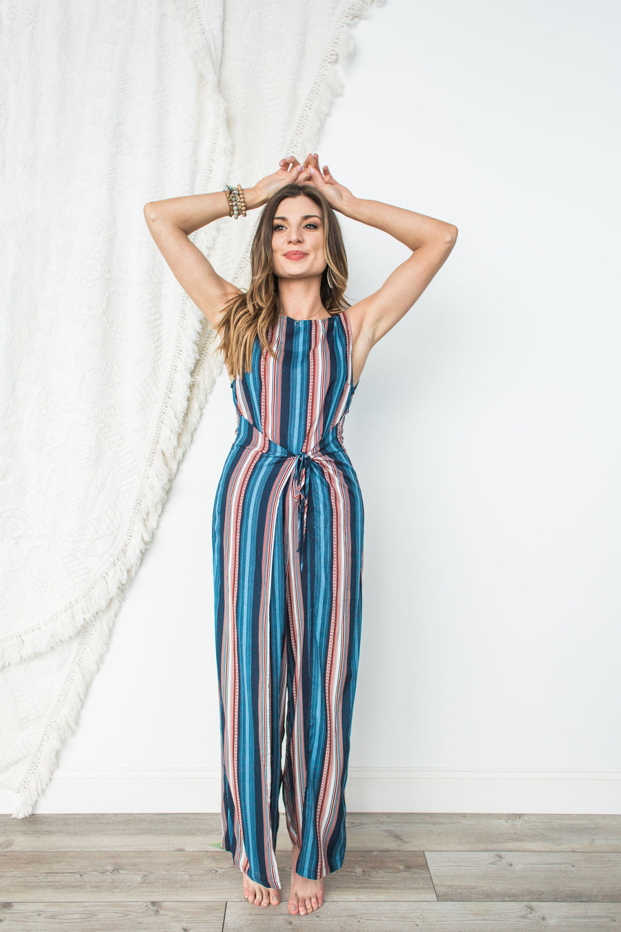 Striped Sleeveless Jumpsuit - Navy