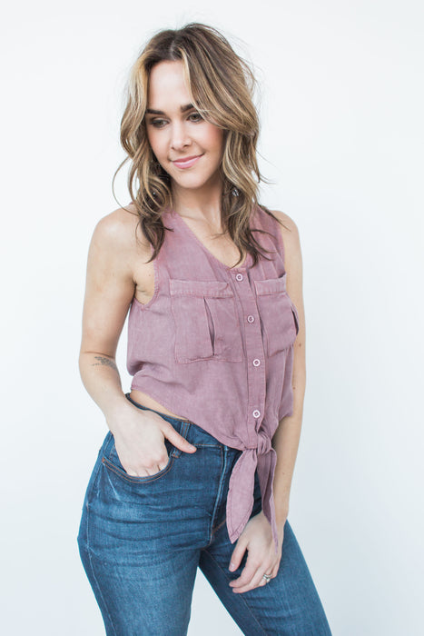 Tie Front Button Down Shirt - Mauve