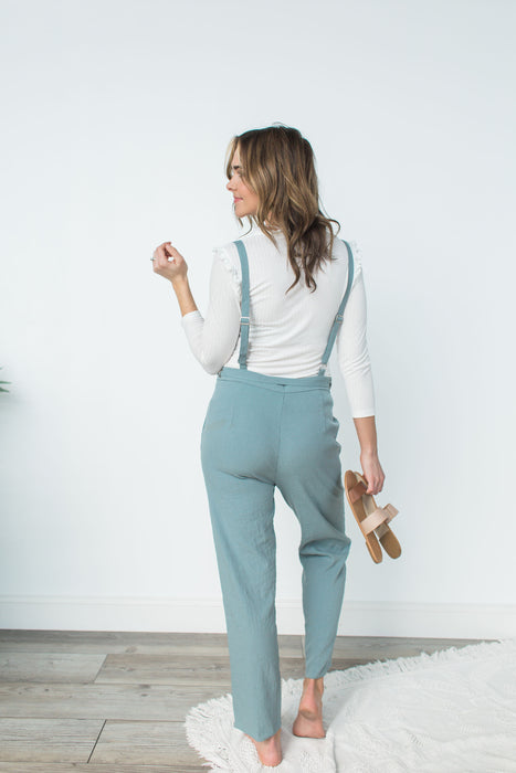 Waist Tie Point Jumpsuit - Grey