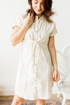 In Session Shirt Dress - White/Taupe