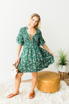 Retro Ruffles Dress - Green