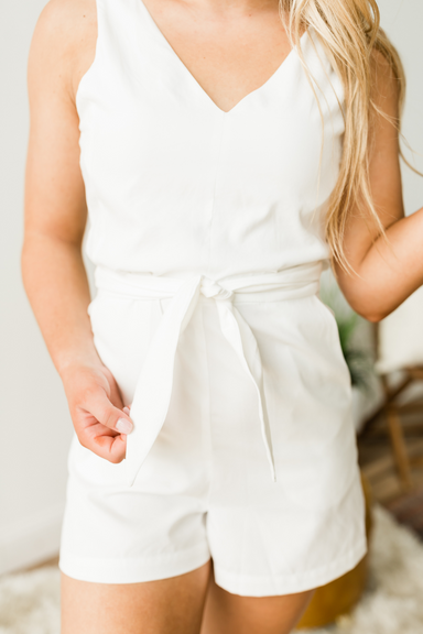 Plain Jane Romper - White