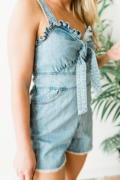 Bow Tie Jumpsuit - Light Denim