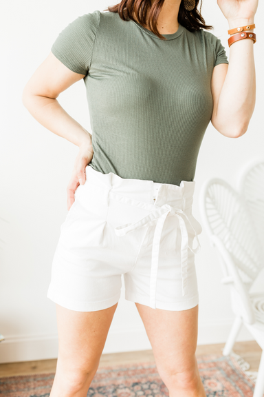 Belted Shorts - White