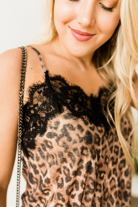 Night On The Town Lace Cami - Leopard