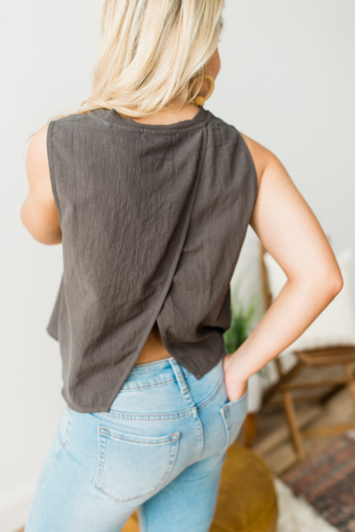 Basic Sleeveless Top - Smoke
