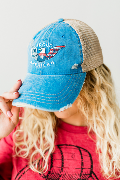 Proud American Hat - Distressed Royal Blue