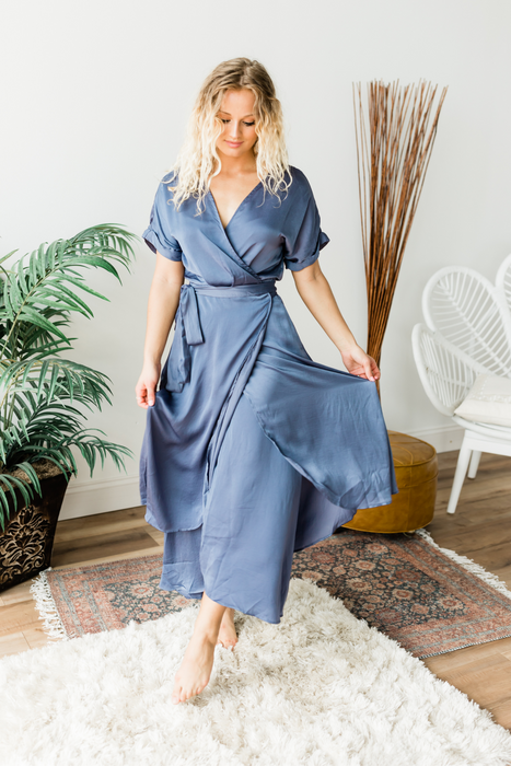 Ocean Eyes Midi Dress - Blue Violet