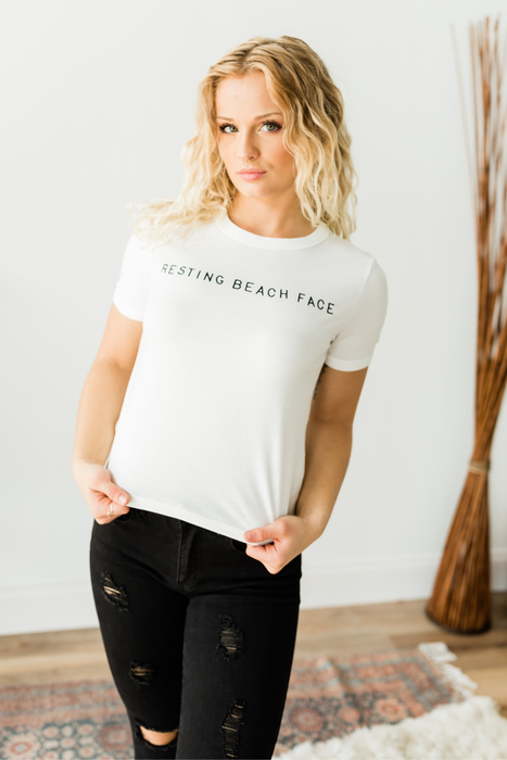 Resting Beach Face Tee - White