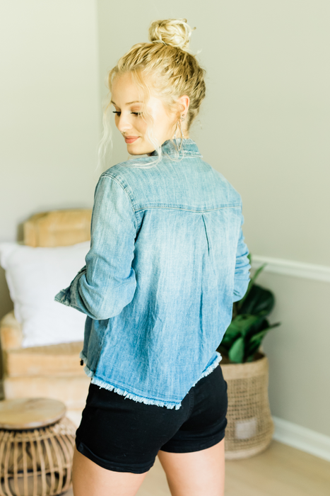 No Need to Stress Denim Top