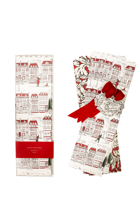 Wine Gift Bags, Holiday Toile/Acanthus (MH)
