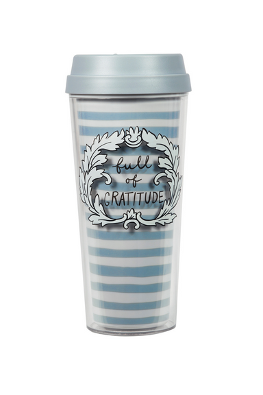 Thermal Mug, Full Of Gratitude (Stripe) (MH)