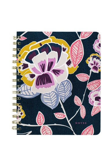 Spiral Notebook, Navy Floral