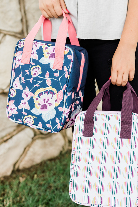 Lunch Tote, Navy Floral