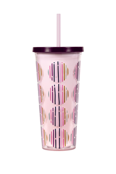 Tumbler With Straw, Dot Stripe